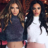 Warm Hairy Turtleneck Knitted Pullover Crop Top