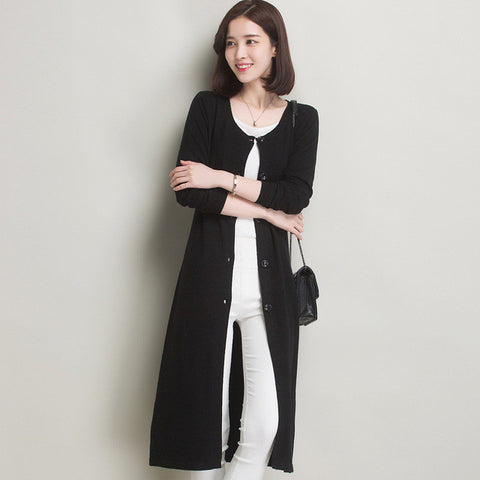 Spring/Autumn/Winter Knitted Long Cardigan