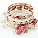 Bohemian Multilayer Coin Fabric Bow Bangles
