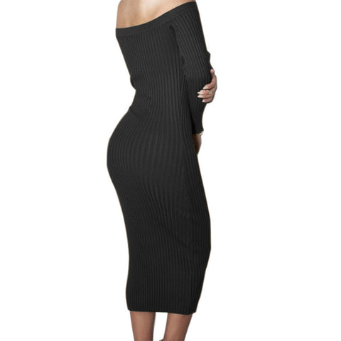 Long Sleeve Off Shoulder Slash Neck Sexy Club Dress