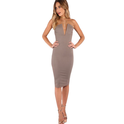 Bust Bandeau Midi Bodycon Dress