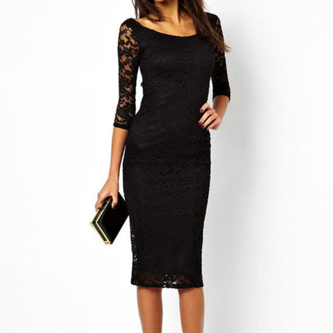Mid-Calf Lace Dress
