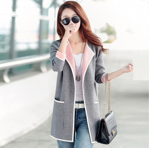 Patchwork Full Sleeve Slim Pocket Knitted Cardigan