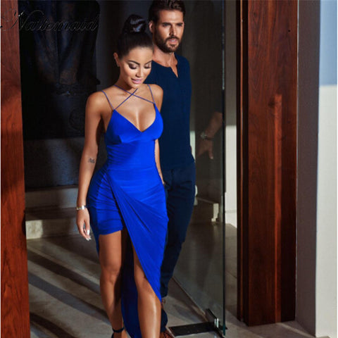 New Style Blue dress Sexy Split V neck Slim Dress