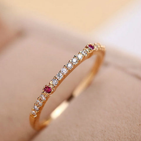 Vintage Red & Clear CZ Rose Gold Ring