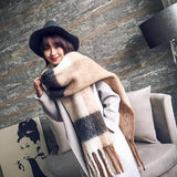 Winter Warm Scarf For Female Gray Pink Color Block Scarf Women's Plaid Blanket Scarf Thick Basic Shawls Autumn Winter BFD004