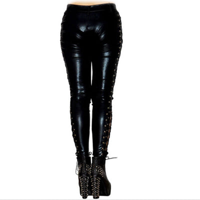 Side Split Vegan Leather Leggings