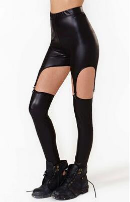 Black Gothic Vegan Garter Leggings