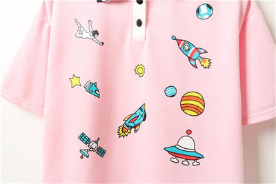 Cartoon Pop Galaxy Polo (3 Colours)