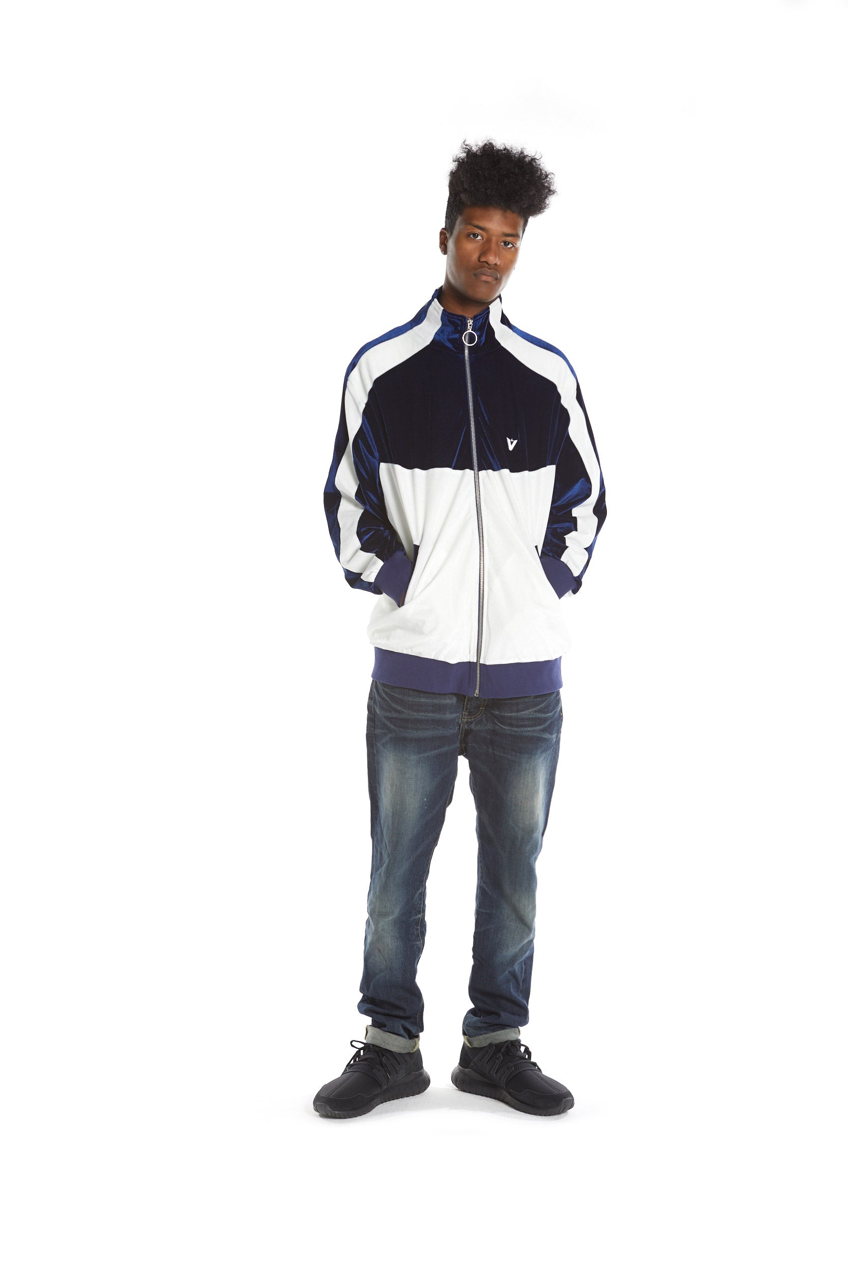 Velour Track Top - Navy