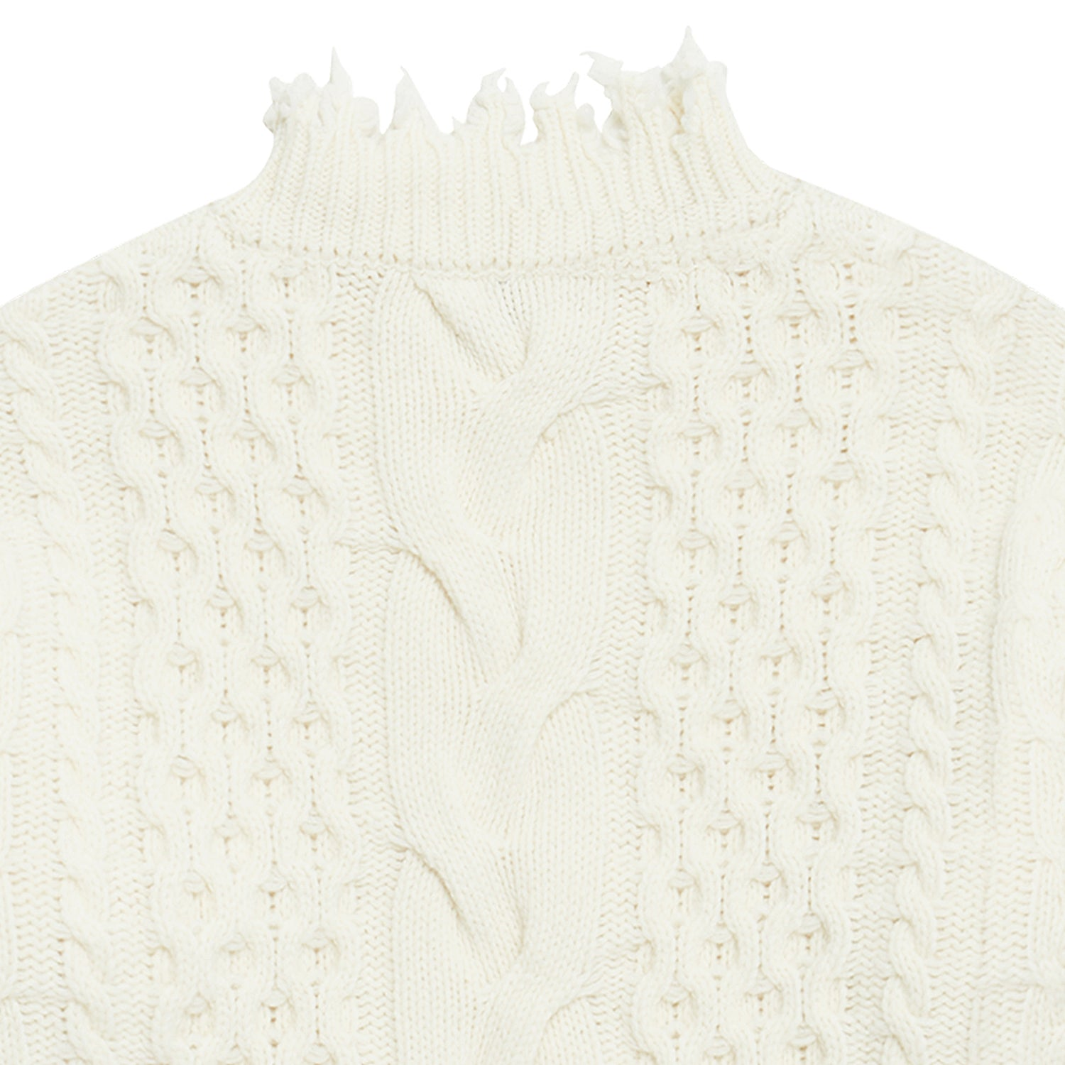 Damage Washed Wool Knit Off White