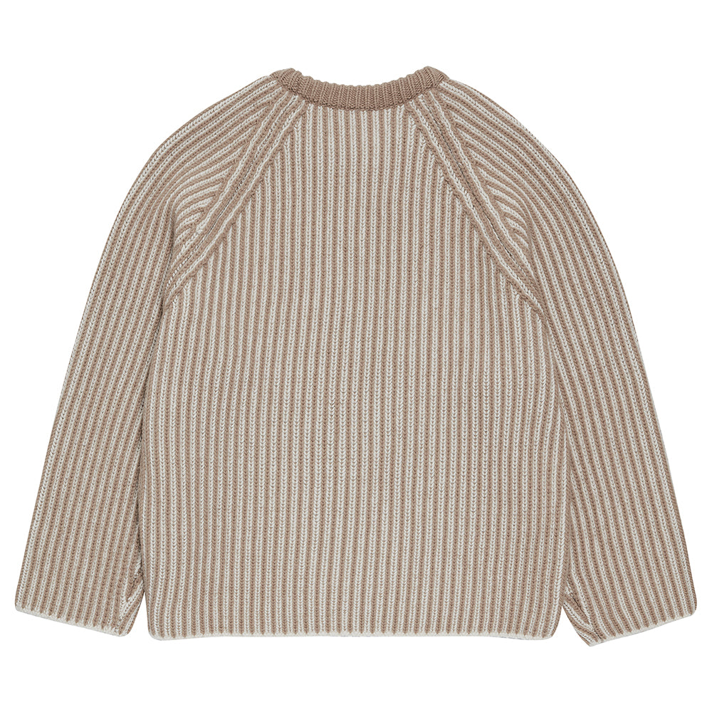 Two Tone Raglan Sweater in Beige & Ecru