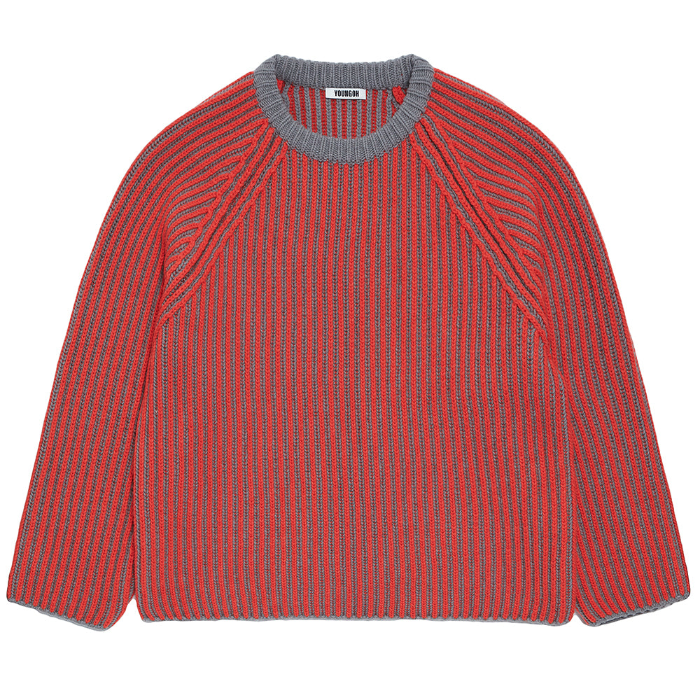 Two Tone Raglan Sweater in Vermillion & Grey