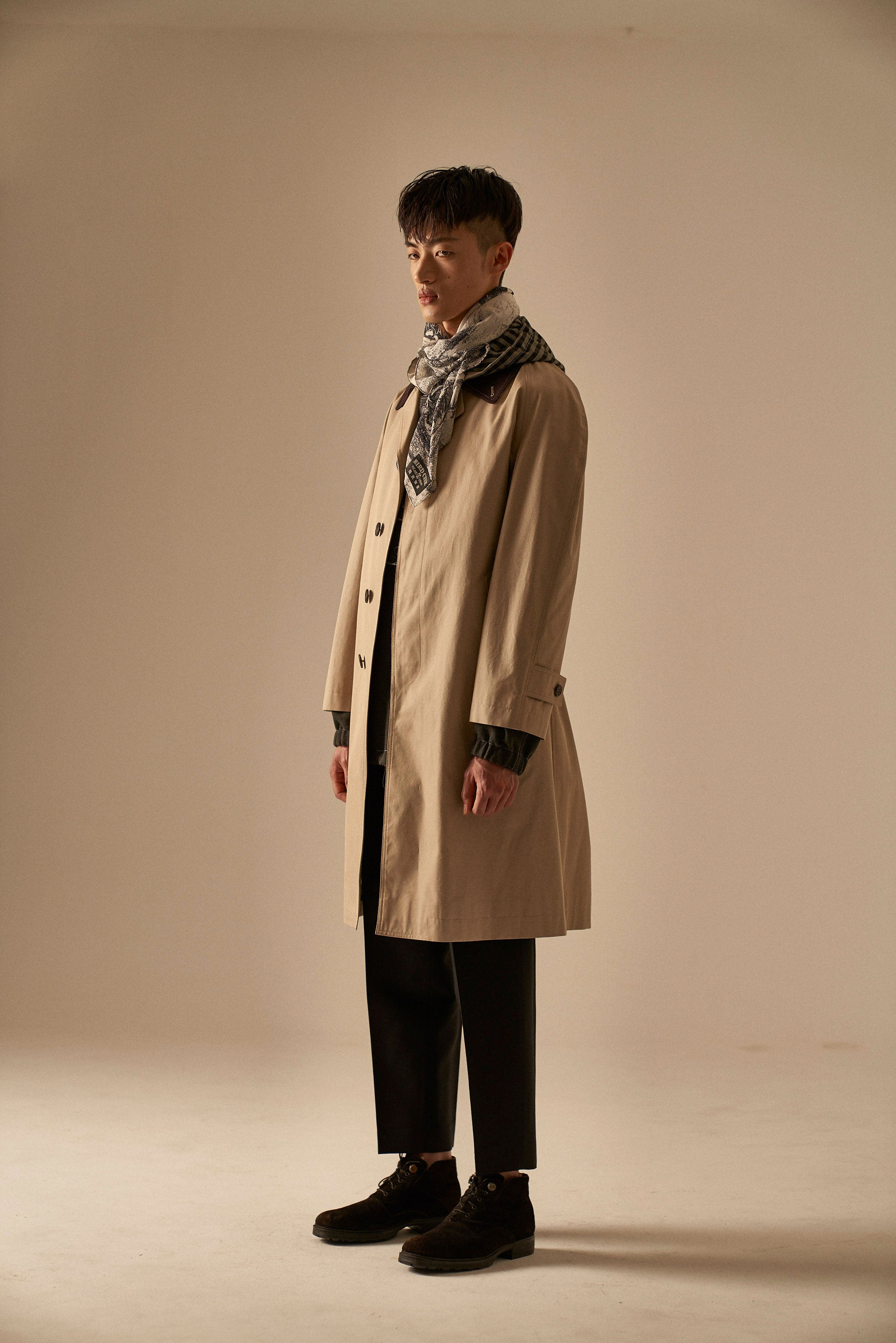 BEATNIKS Beige Cotton Balmaccan Coat