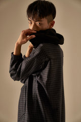 Miles Navy Gingham Check Wool Anorak