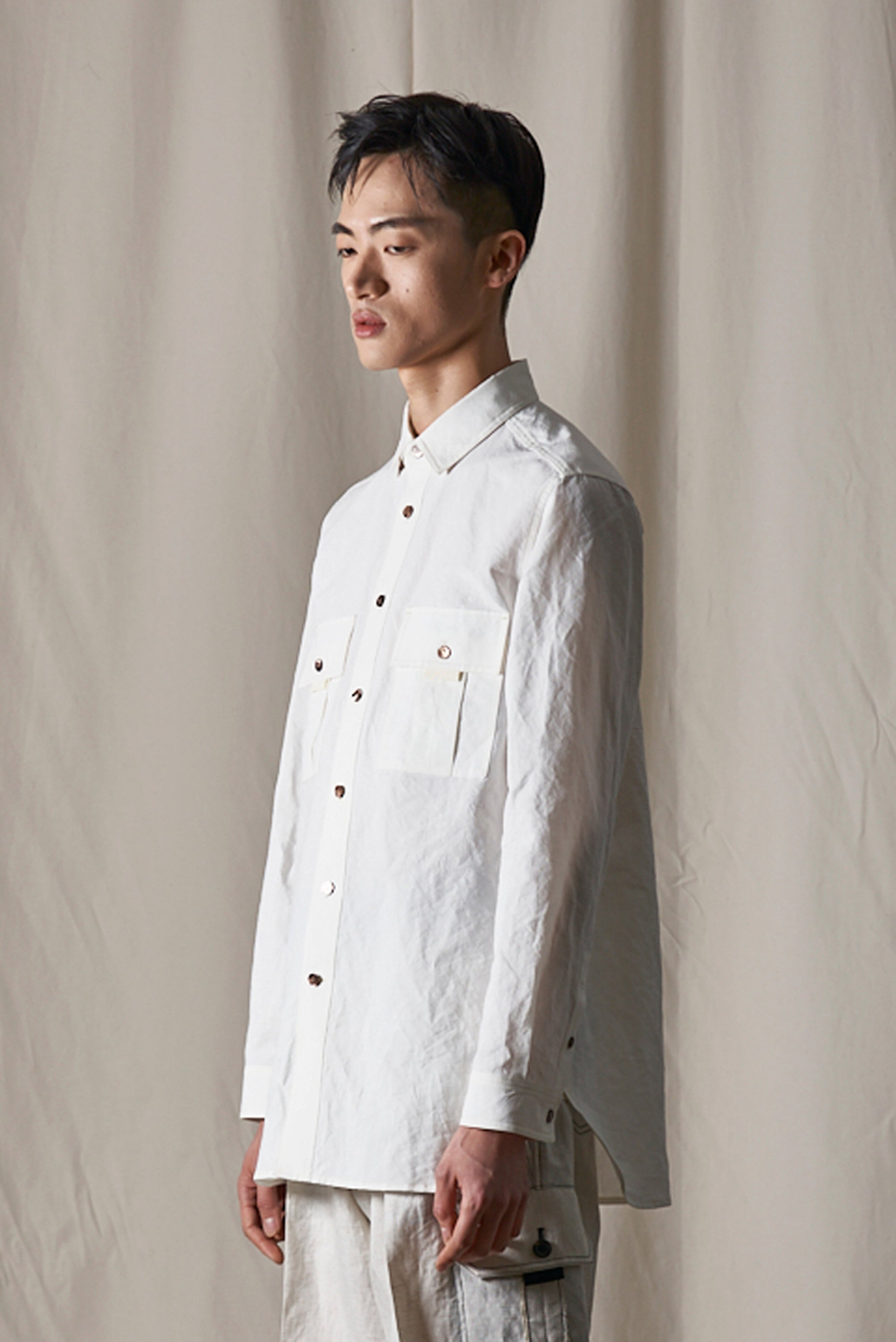 Haus 02 White Cotton Linen Shirt