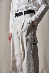 Ginsberg Vol.1 White Wool Raw-Cut Wide Pants (Made-To-Order)
