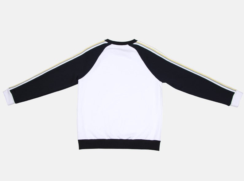 Raglan two lines trimming color mix sweatshirt