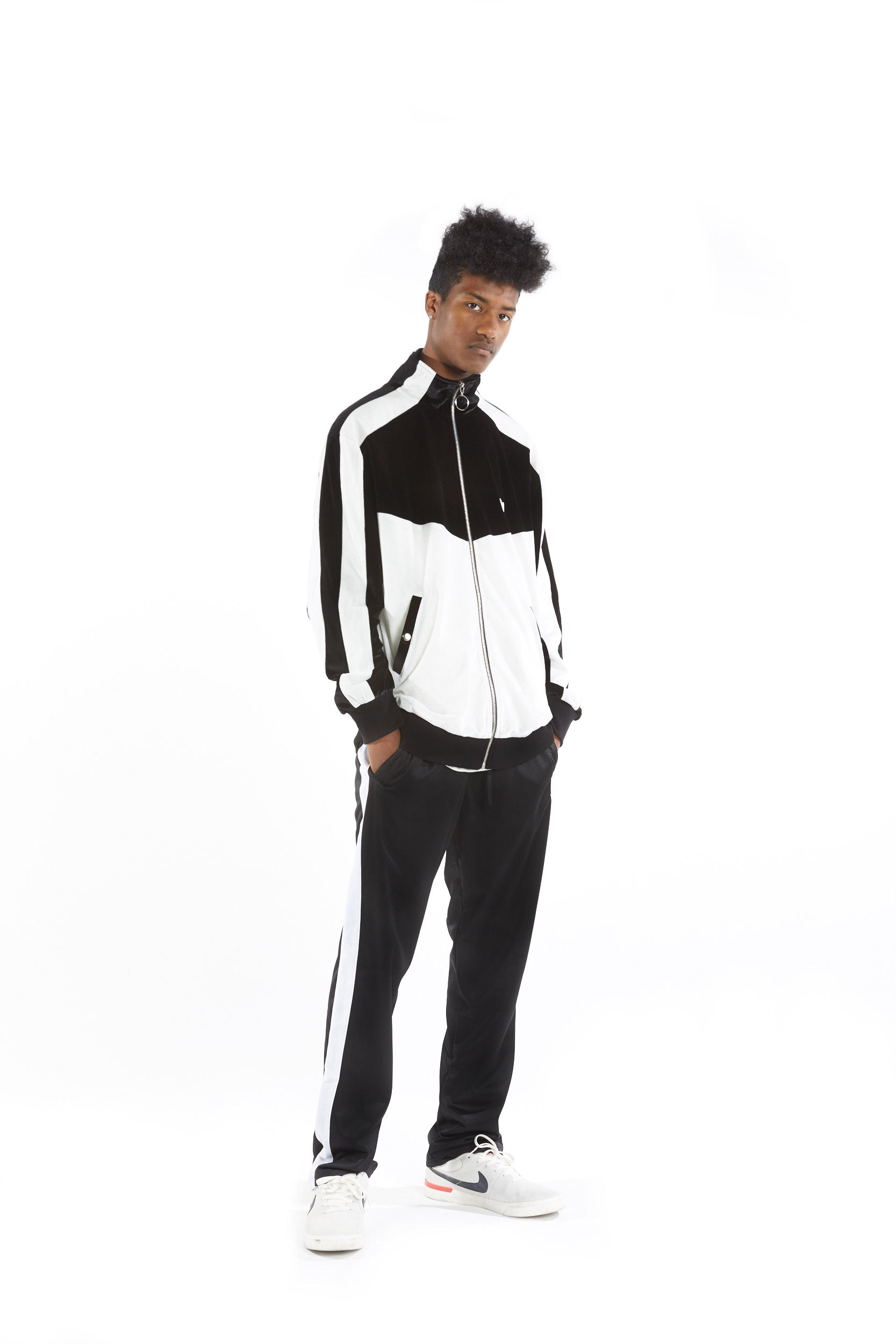 Velour Track Top - Black