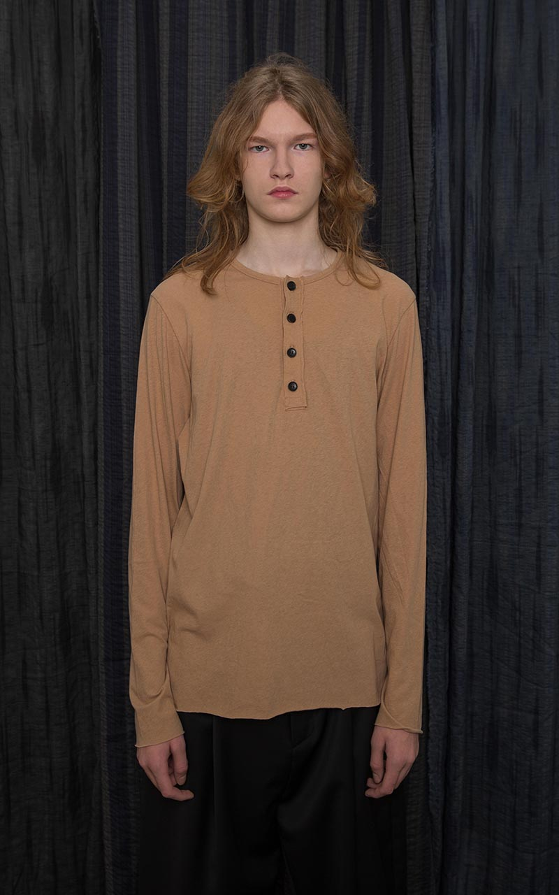 Beige Cotton Henley T-Shirt