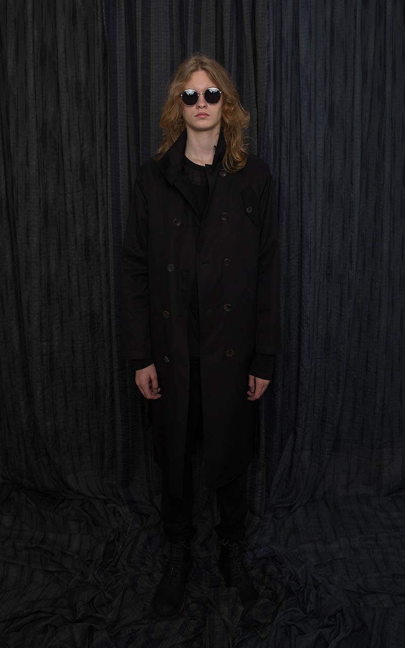 Black Gabardine Trench Coat