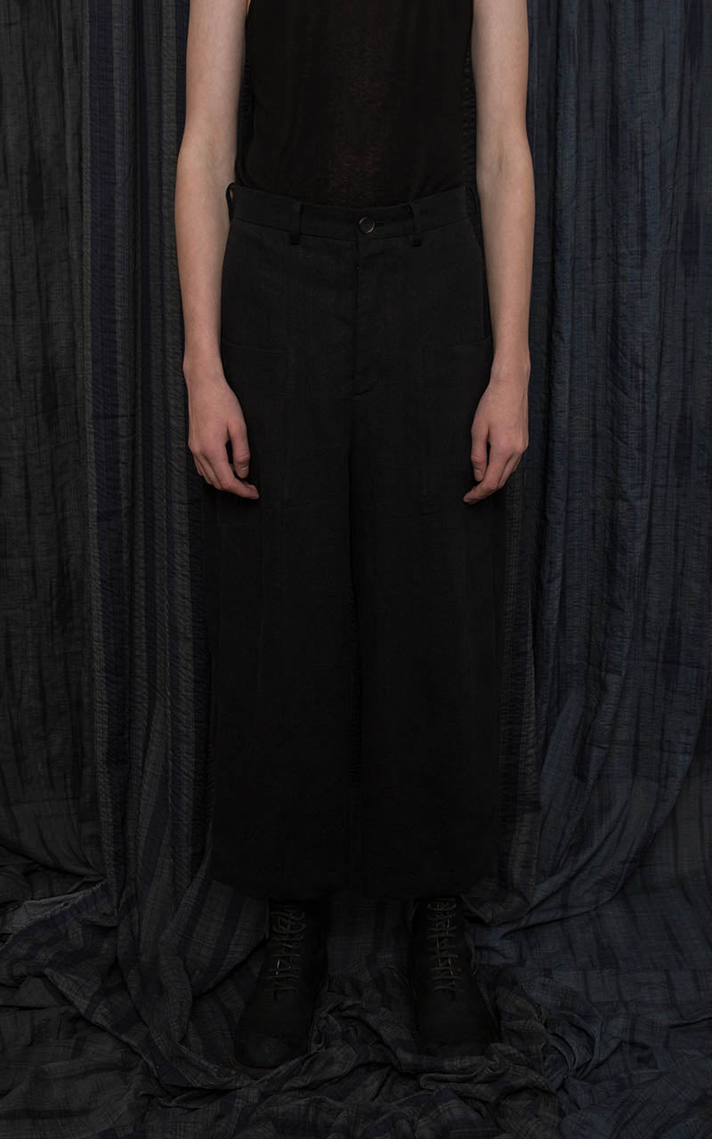 Black Linen Balloon Trousers