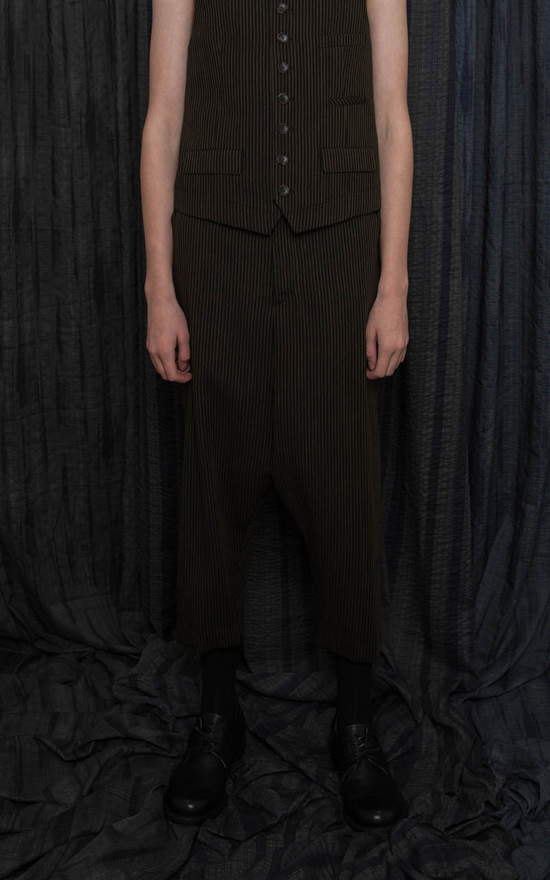 Black Pinstripe Drop-Crotch Tailored Trousers