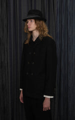 Black Wool Double-Breasted Jacket