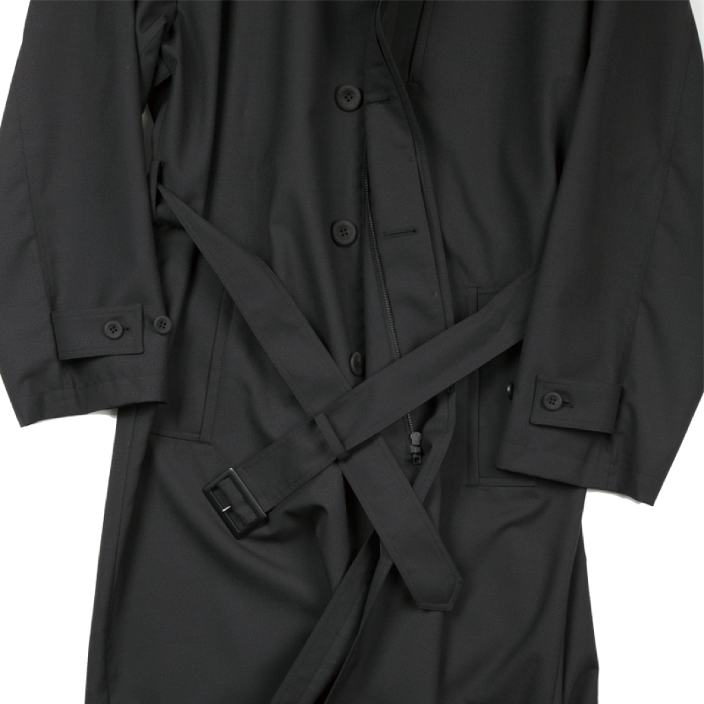 Funnel-Neck Detachable Hooded Trench Coat