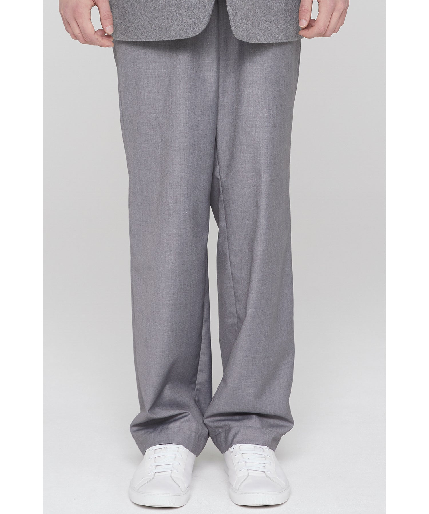 Long Wide Trousers Gray
