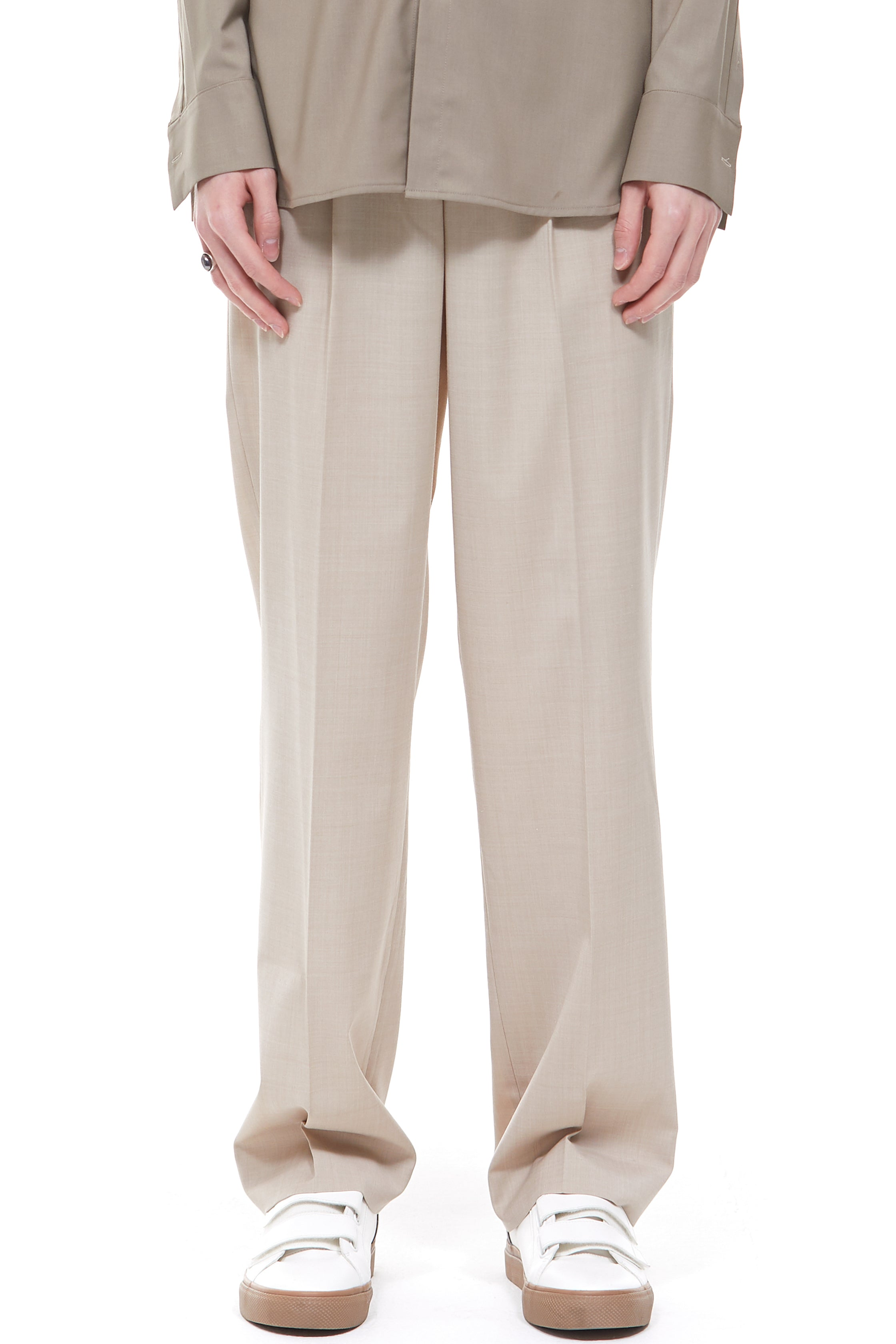 Long Wide Trousers in Brown