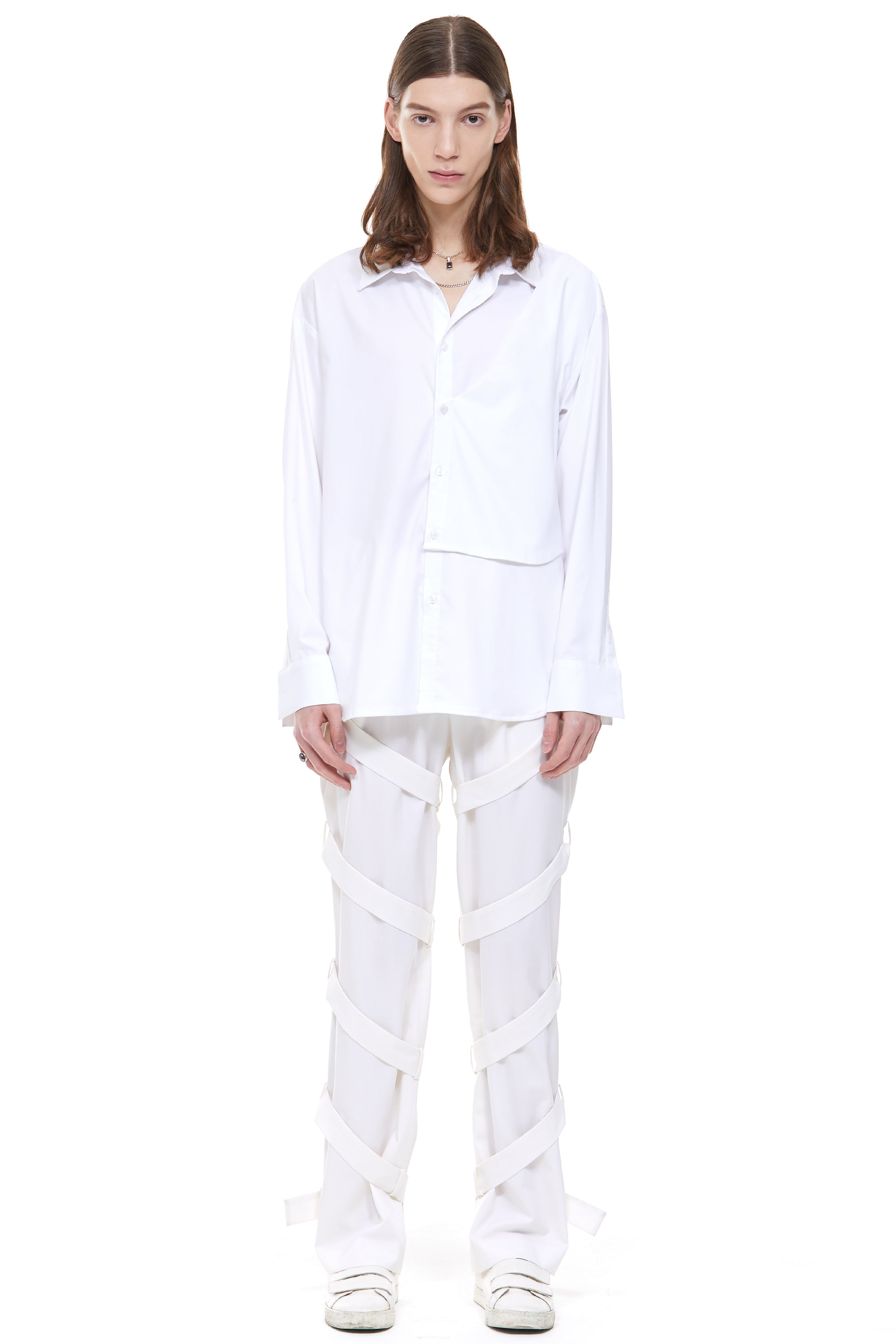 Belted Longwide Pants in Ivory (Made-to-Order)