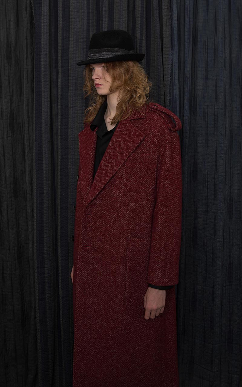 Red Virgin Wool Blended Trench Coat