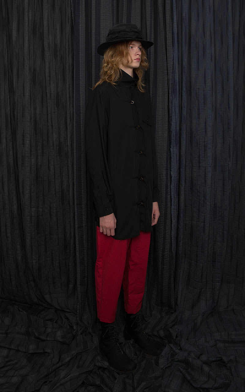 Red Cotton Tuck Cropped Trousers