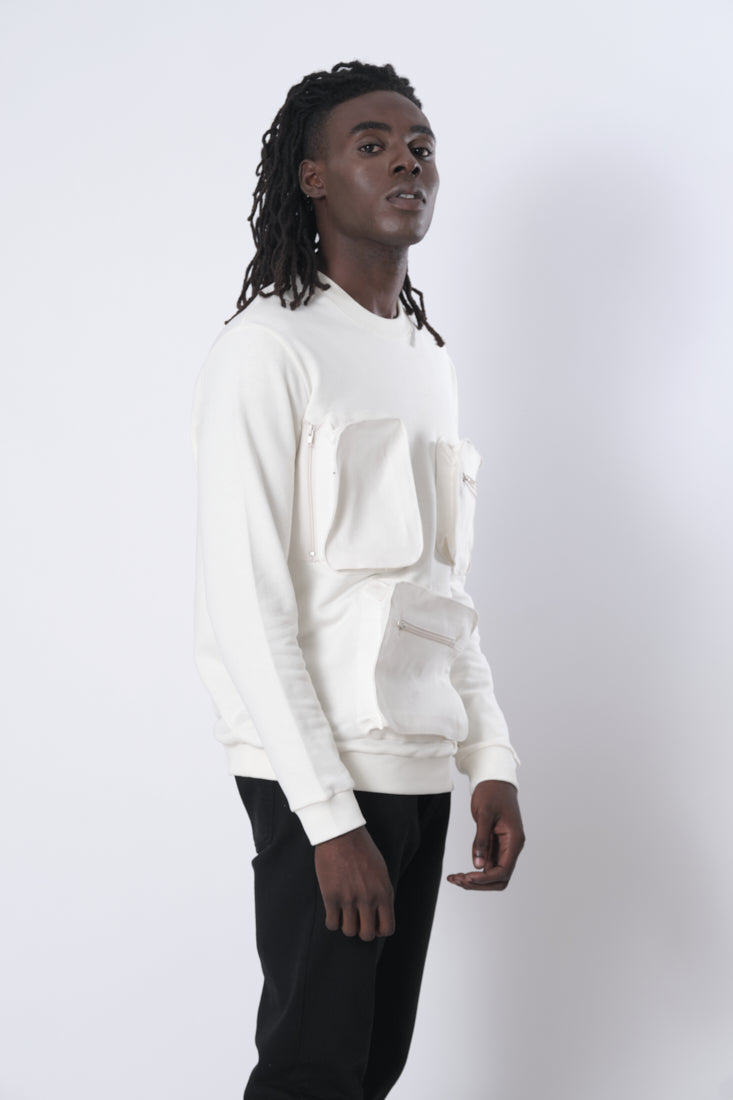 Boxes Sweatshirt in White