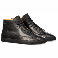 Odile High Black Sneakers in Leather