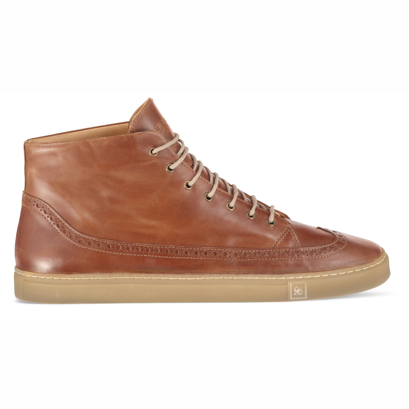 Odile High Brown Sneakers in Leather