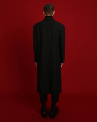 Black Wool Single-Breasted Coat