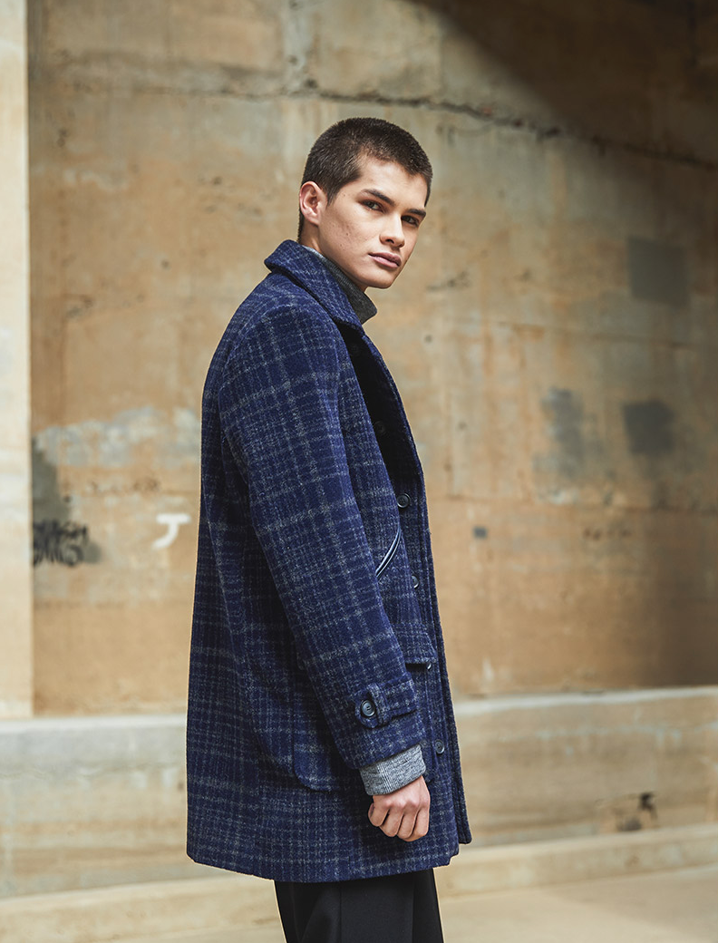 Leather Diagonal Line Pocket Check Coat