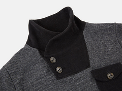 Button Turtleneck Pullover