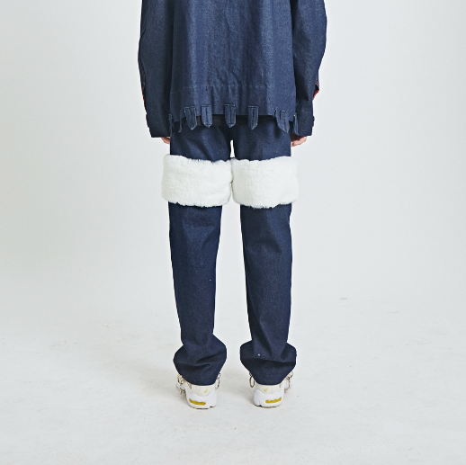 Above Knee Fur Detail Denim Pants White