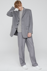 3 Button Wool Mid Coat Gray