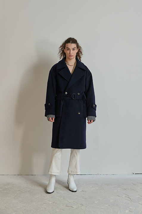 Pocket Detailed Oversize Wool Coat Navy