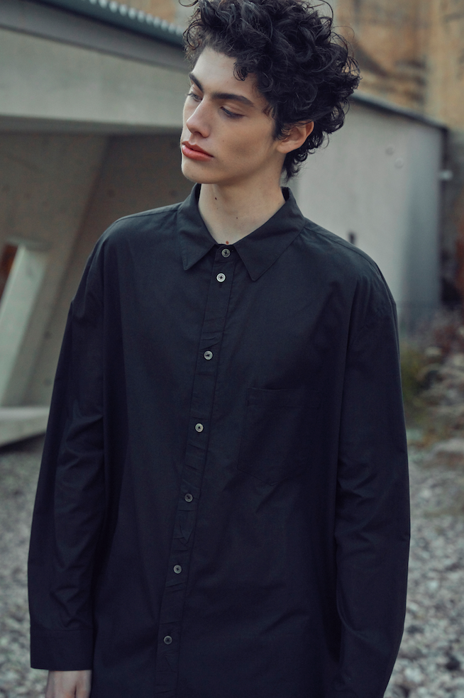 SS20 Creased Button Stand Detailed Shirt 002 Black