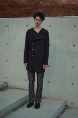 SS20 Collarless Raw Edge Detailed Shirt 004 Black