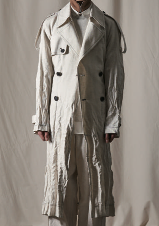 Beatniks Vol.2 White Cotton Linen Wrinkle Trench Coat (Made-To-Order)
