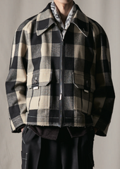 Coltraine Beige Wool Gingham Check Raw-Cut Jacket (Made-To-Order)