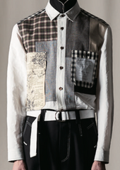 Haus 02 White Cotton Patchwork Shirt (Made-To-Order)