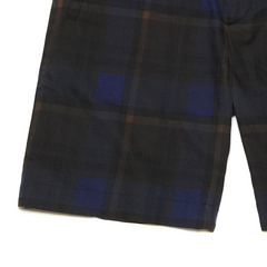 BLUHOR Bees Wax Coated Blue Tartan Check Shorts