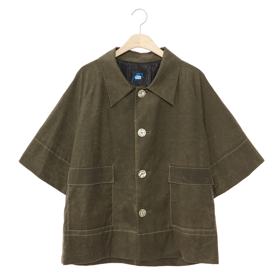 YESEI Bees Wax Coated Short Sleeve Jacket Mustard